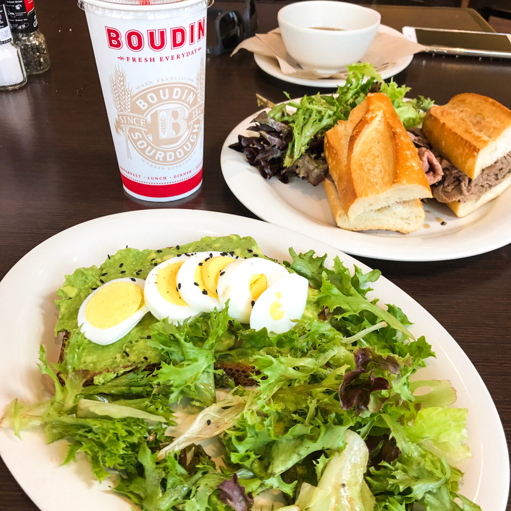 Avo toast lunch at Boudin by A Lady Goes West