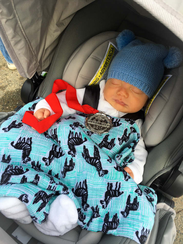 Brady at 8 weeks at the Turkey Trot by A Lady Goes West