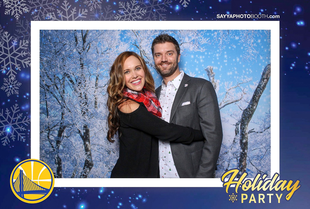Warriors holiday party photobooth pic with Dave in San Francisco by A Lady Goes West