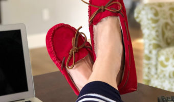 New favorite red slippers by A Lady Goes West