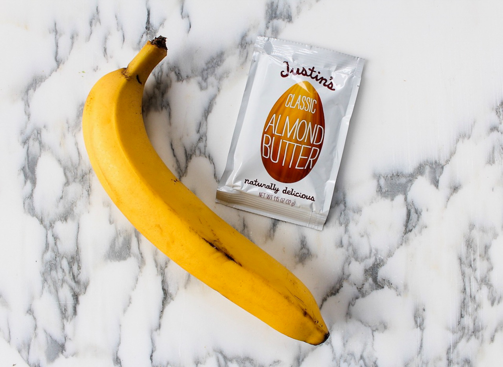 Banana and almond butter store-bought healthy snack by A Lady Goes West