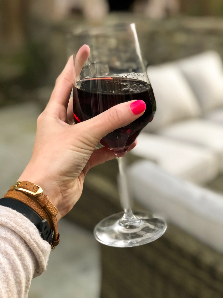 Red wine outside by A Lady Goes West
