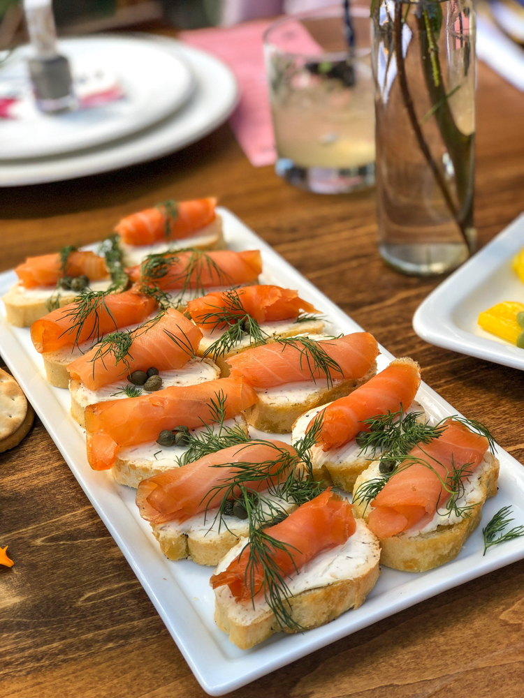 Beauty Week brunch smoked salmon bruschetta by A Lady Goes West
