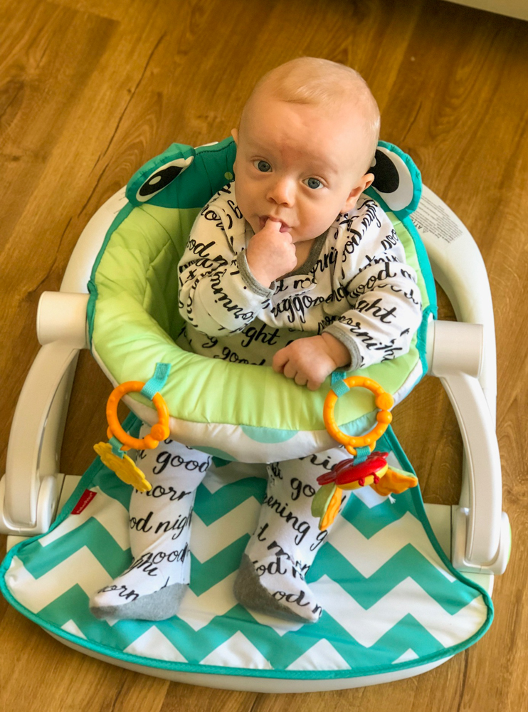 Brady at five months in his frog chair by A Lady Goes West