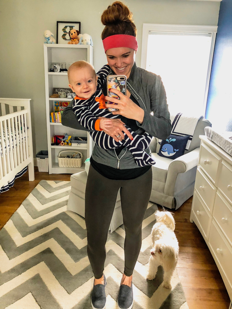 Ashley and smiling Brady in the nursery on A Lady Goes West