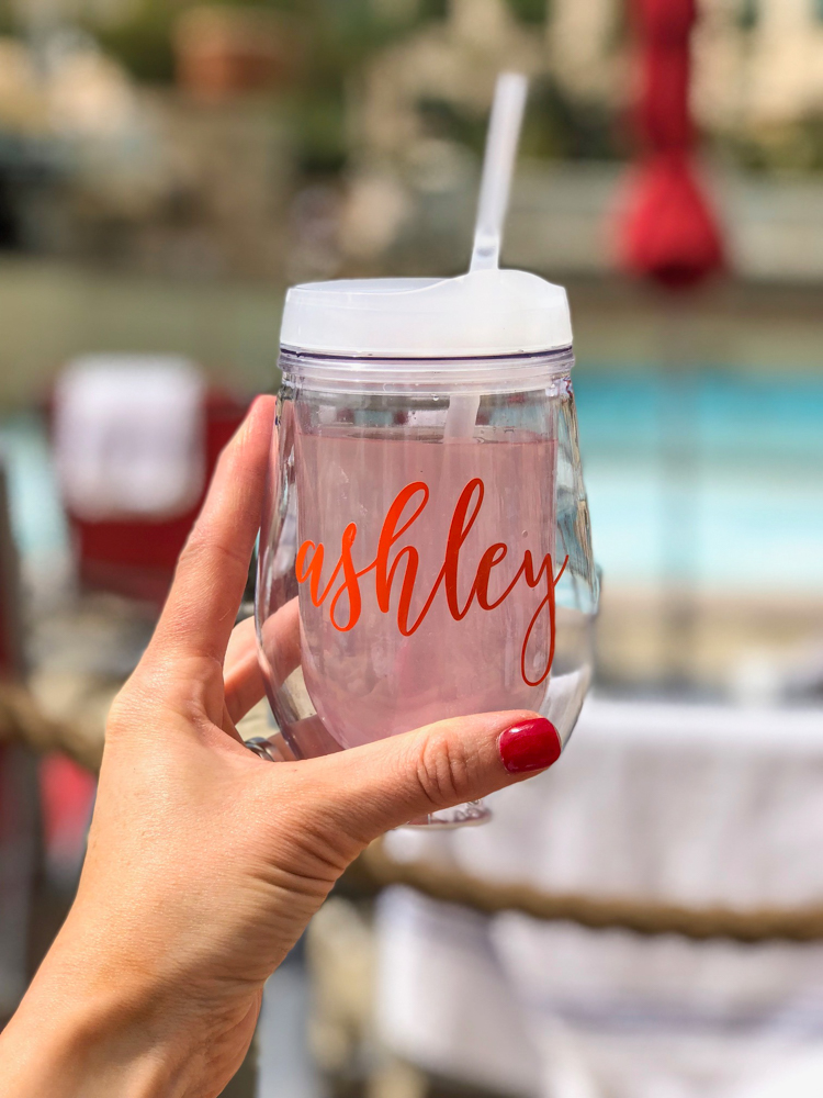 Personalized glass in Las Vegas by A Lady Goes West