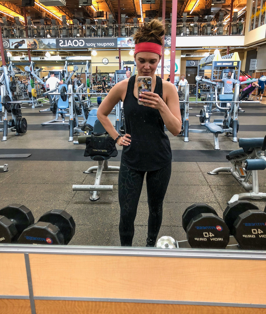 Ashley at the gym at 31 weeks postpartum by A Lady Goes West