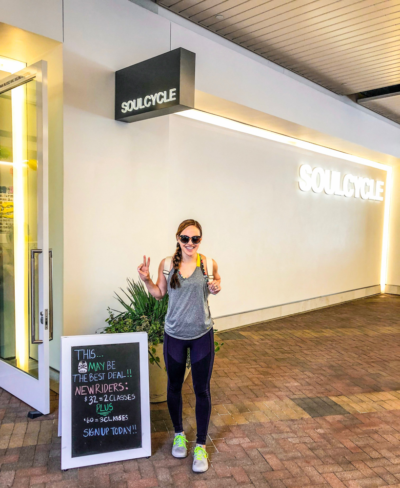 Ashley outside of SoulCycle by A Lady Goes West