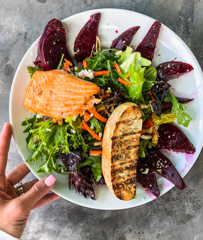 Beet and salmon salad by A Lady Goes West