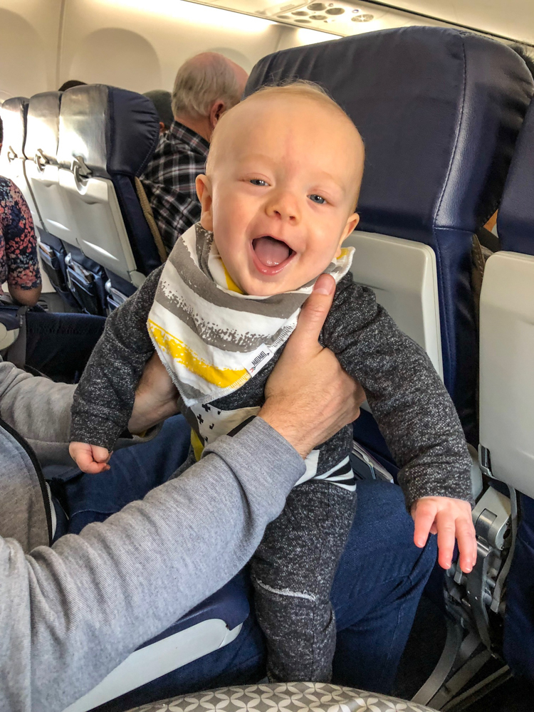 Brady at 7 months on the plane by A Lady Goes West
