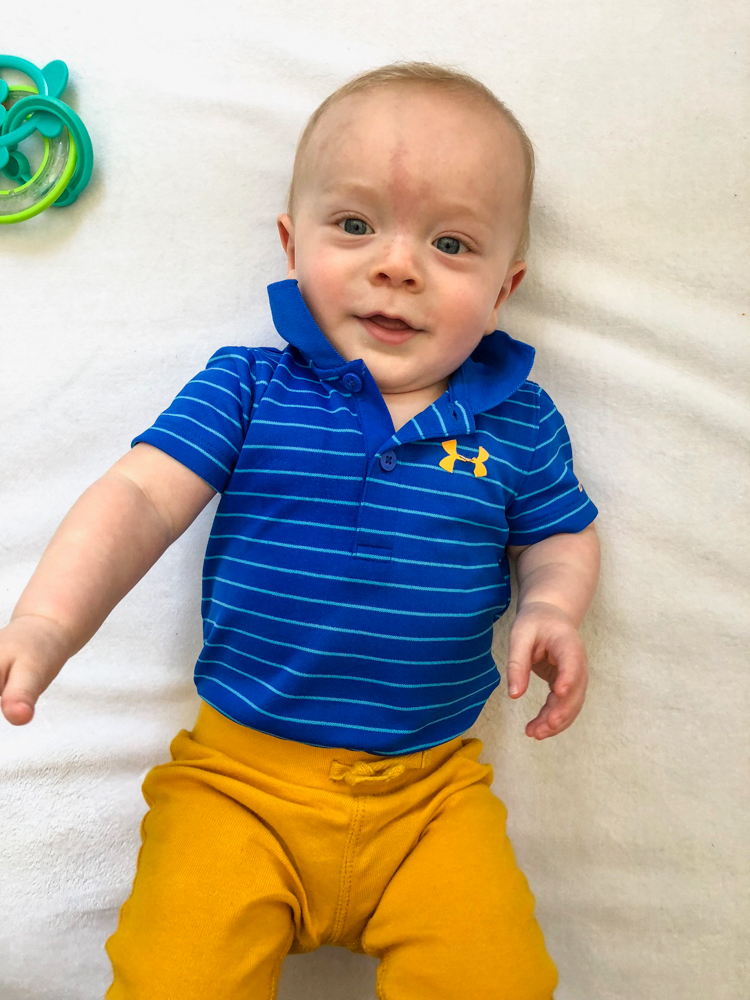 Brady at 7.5 months in blue and gold by A Lady Goes West