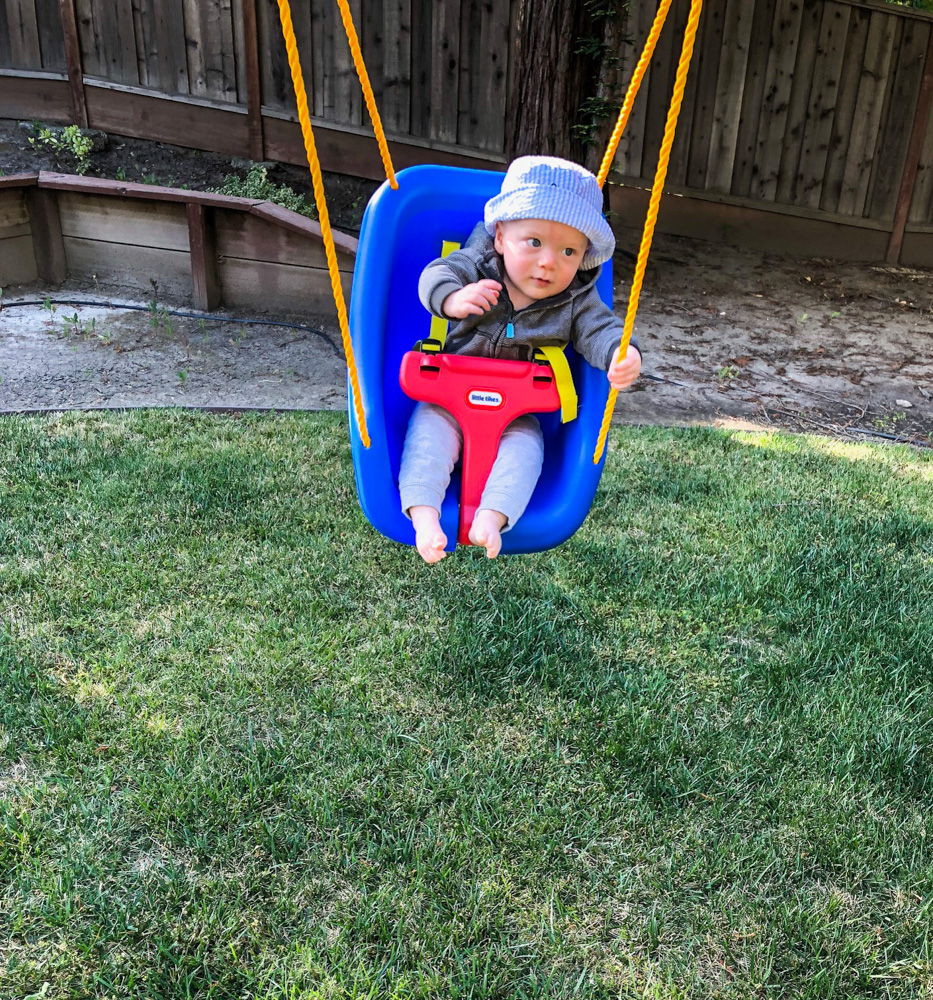 Brady in his new swing at 7.5 months by A Lady Goes West