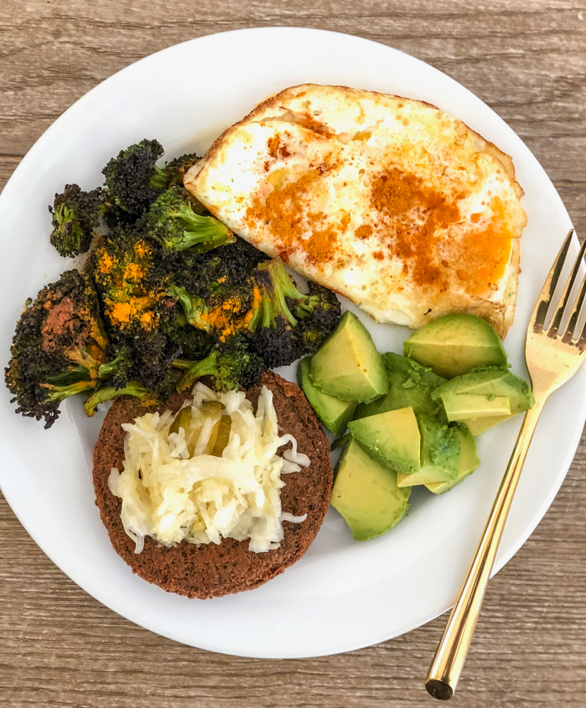Broccoli, egg and veggie burger lunch by A Lady Goes West