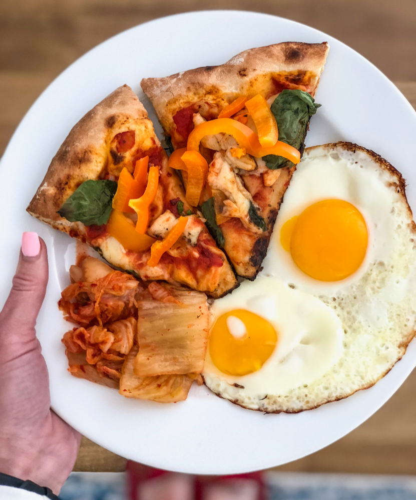 Leftover pizza and eggs by A Lady Goes West