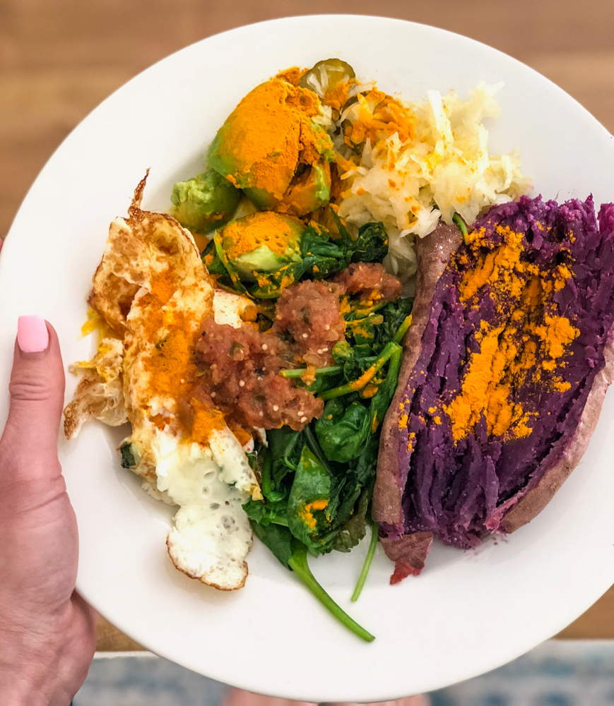Purple sweet potato lunch by A Lady Goes West