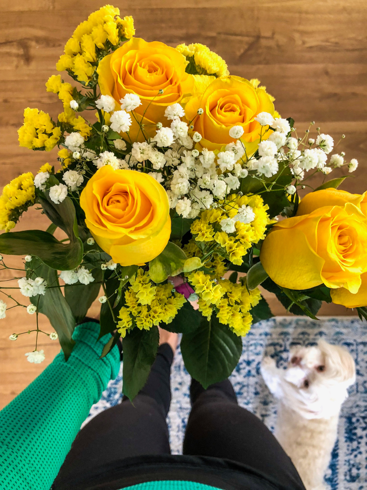 Yellow anniversary flowers by A Lady Goes West