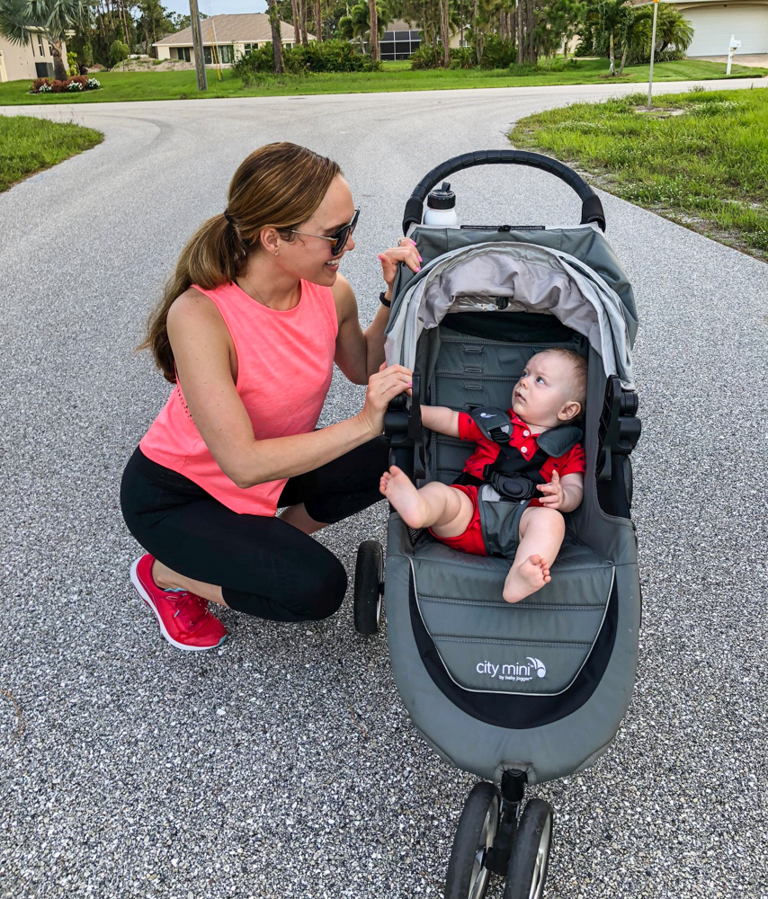Ashley with Brady and the stroller in Florida by A Lady Goes West
