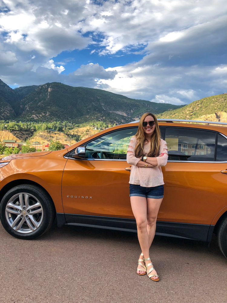 Ashley with Chevy Equinox in Glenwood Springs in July 2018 by A Lady Goes West