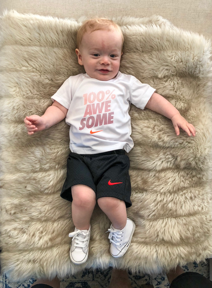 Brady at 10 months in Nike clothes by A Lady Goes West