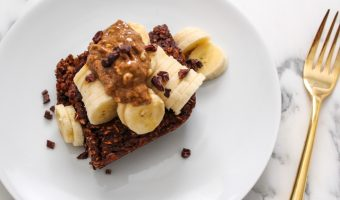 Cacao baked oatmeal serving recipe - by A Lady Goes West