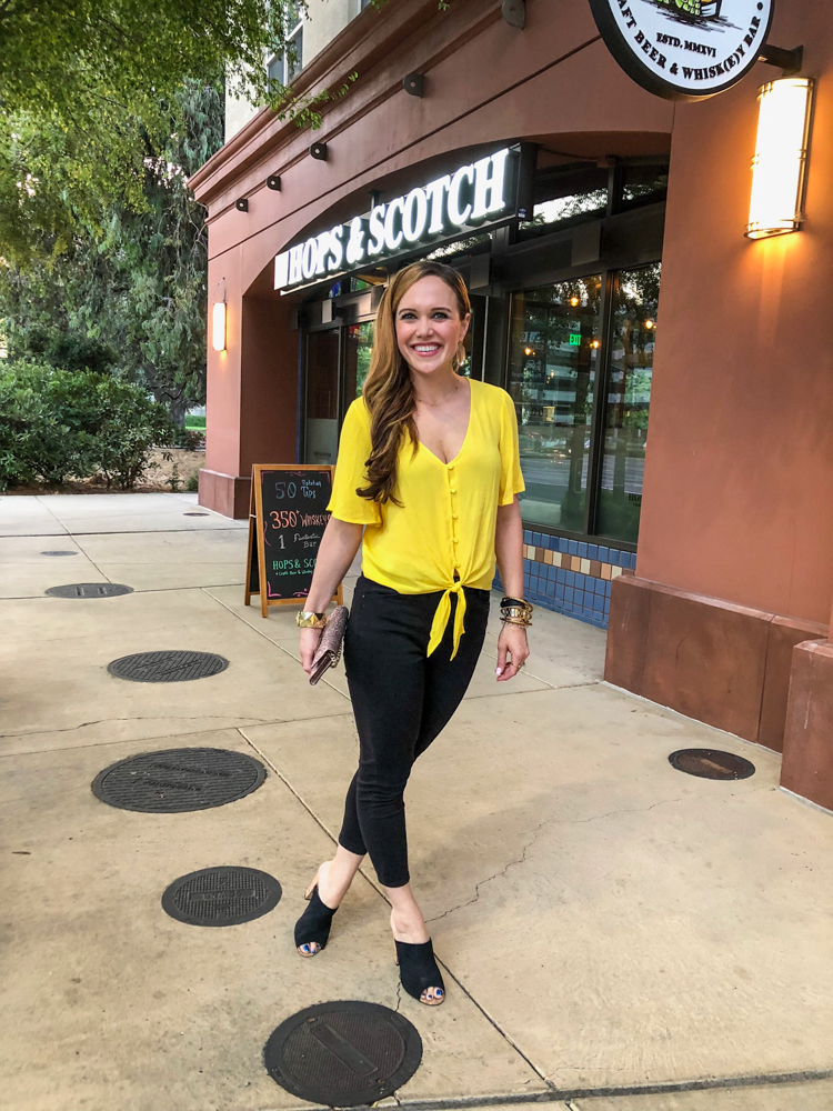 Yellow top and out for dinner at Parada in September 2018 - by A Lady Goes West