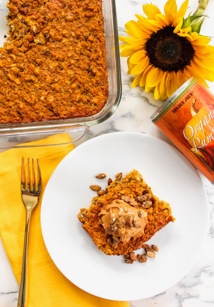 A superfood pumpkin oatmeal breakfast bake recipe gluten-free by A Lady Goes West