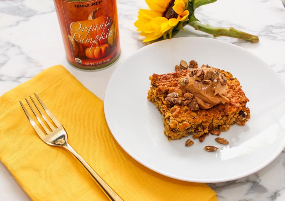 Favorite superfood pumpkin oatmeal breakfast bake recipe gluten-free by A Lady Goes West