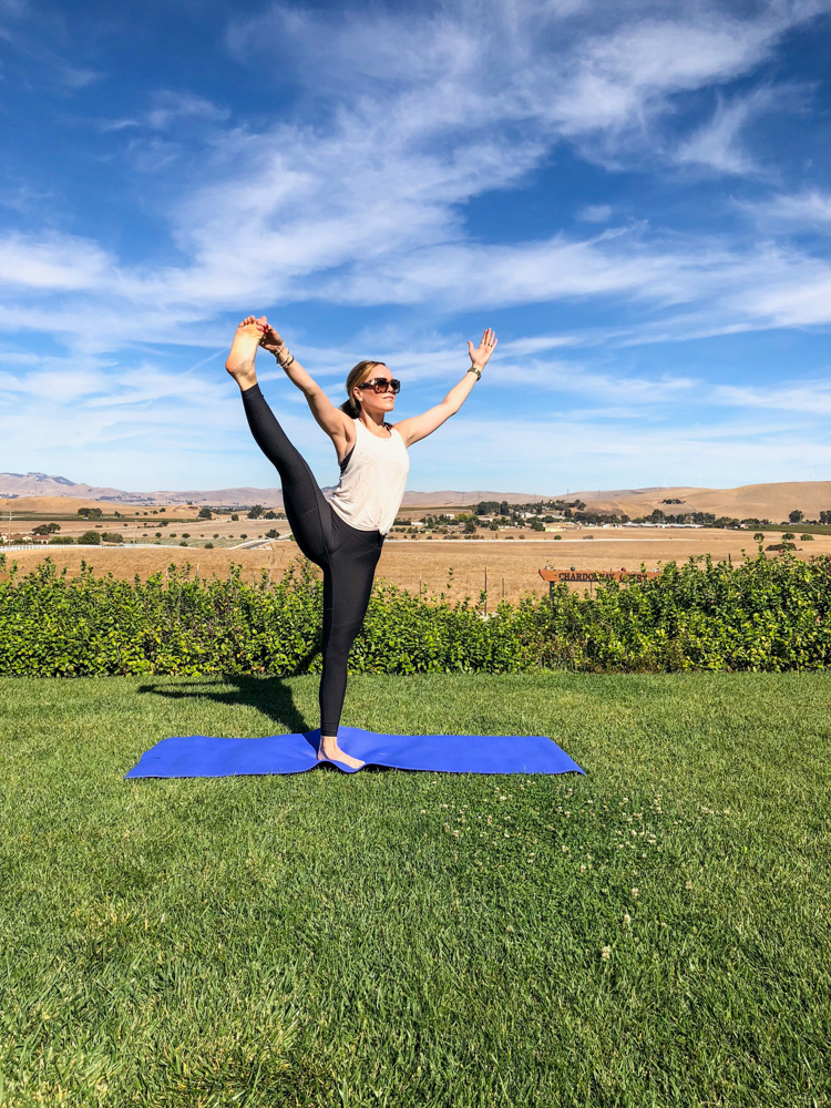 Livermore Valley yoga pose at McGrail by A Lady Goes West -- October 2018