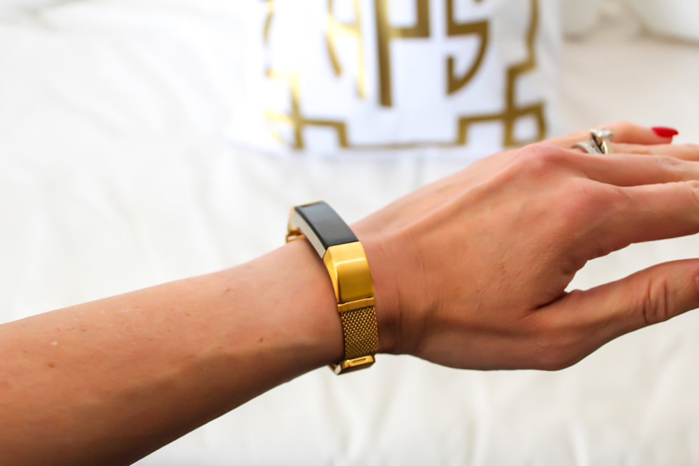New gold Fitbit strap by A Lady Goes West -- October 2018