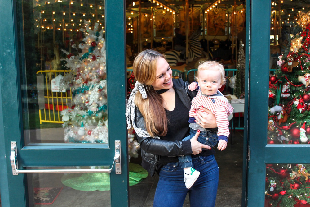 Ashley and Brady at the merry-go-round by A Lady Goes West -- December 2018