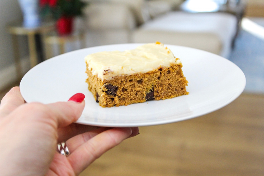 Pumpkin cake dessert by A Lady Goes West -- December 2018