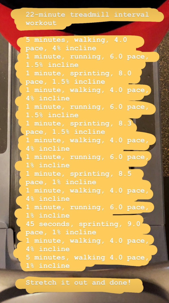 Treadmill interval workout by A Lady Goes West -- December 2018