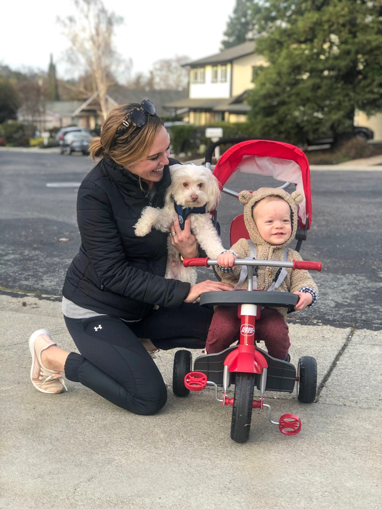 Ashley, Rudy and Brady outside by A Lady Goes West -- January 2019