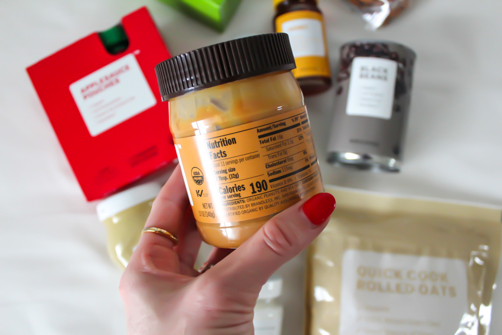 Brandless peanut butter label A Lady Goes West -- January 2019