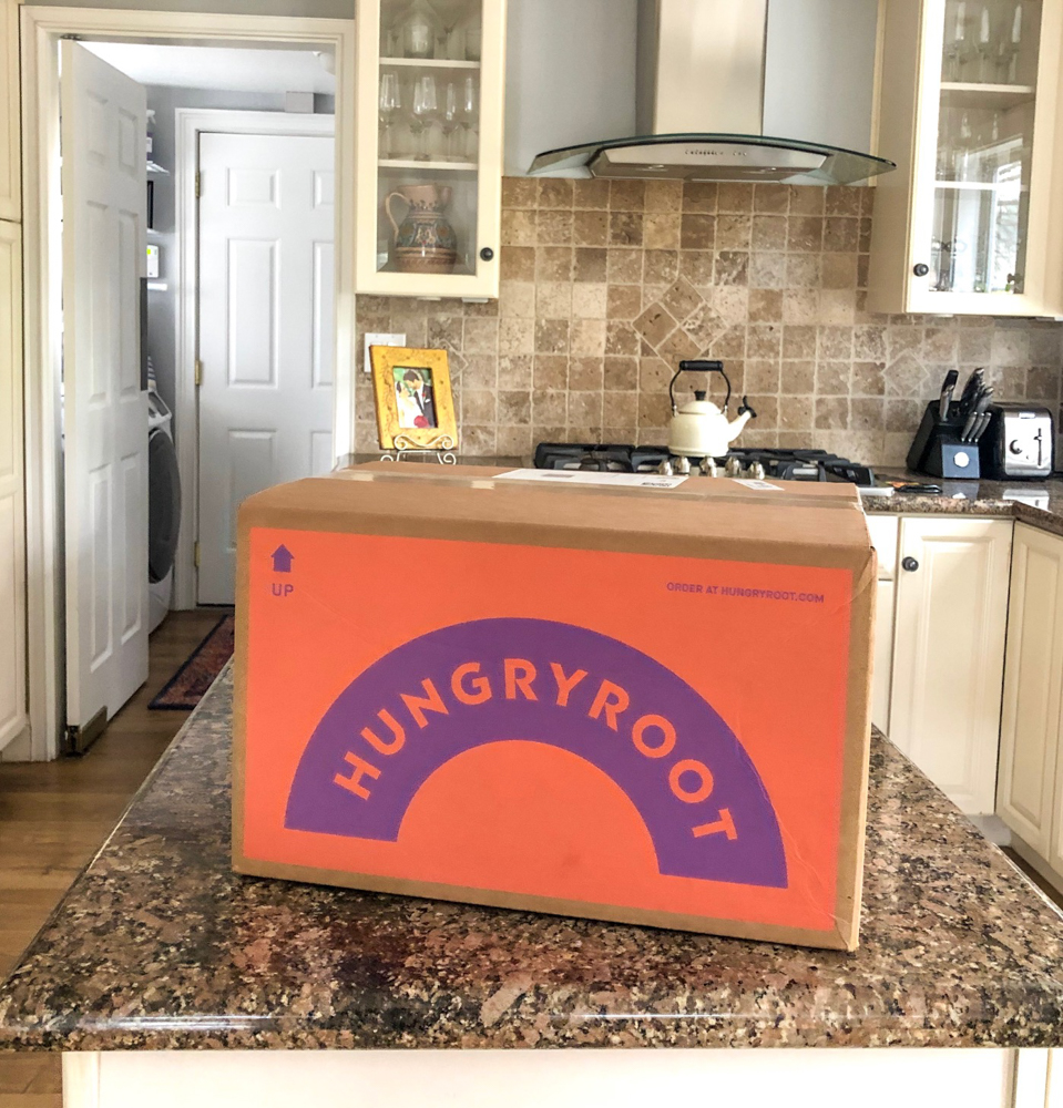 Hungryroot delivery box by A Lady Goes West -- January 2019