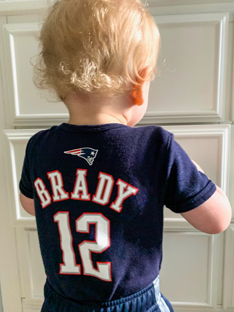 Brady with a jersey by A Lady Goes West -- Brady's 16-month update