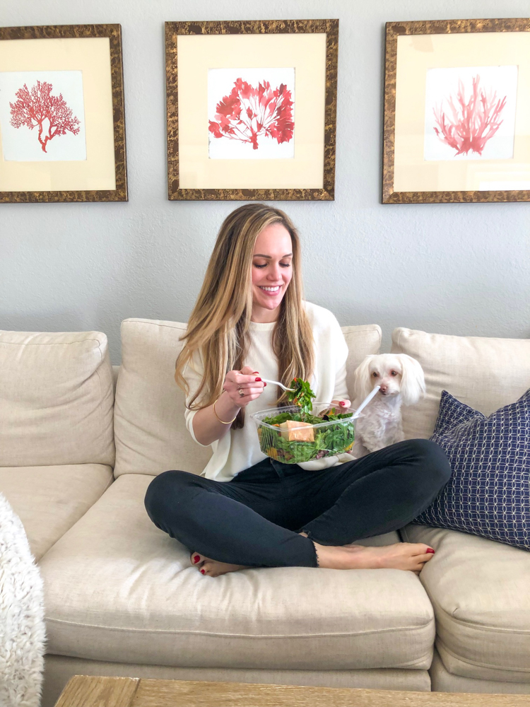 Ashley eating a salad by A Lady Goes West
