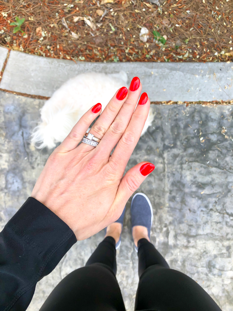 Red dip powder nails by A Lady Goes West - April 2019