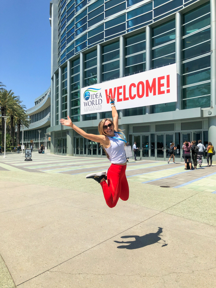 Ashley jumping outside Anaheim Convention Center by A Lady Goes West - June 2019
