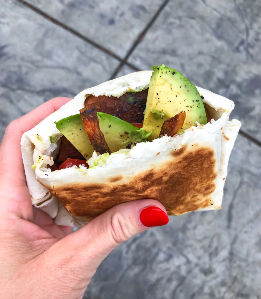 Beyond Meat wrapped burger by A Lady Goes West - June 2019