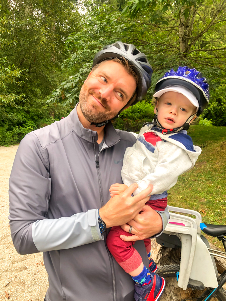 Dave and Brady biking by A Lady Goes West - July 2019