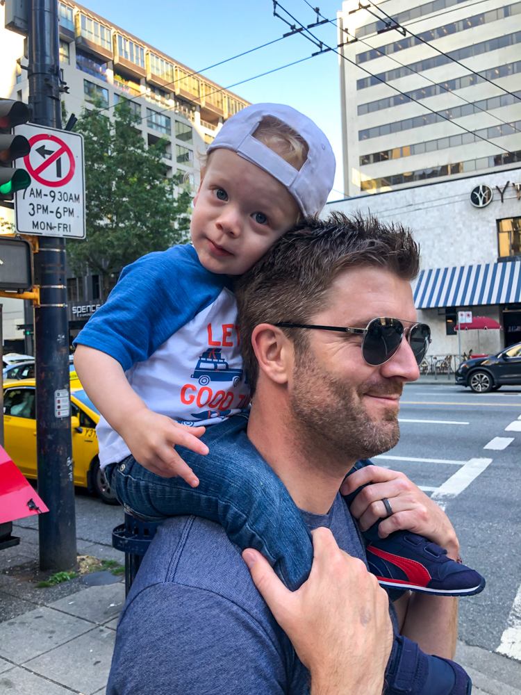 Dave and Brady in downtown Vancouver by A Lady Goes West - July 2019