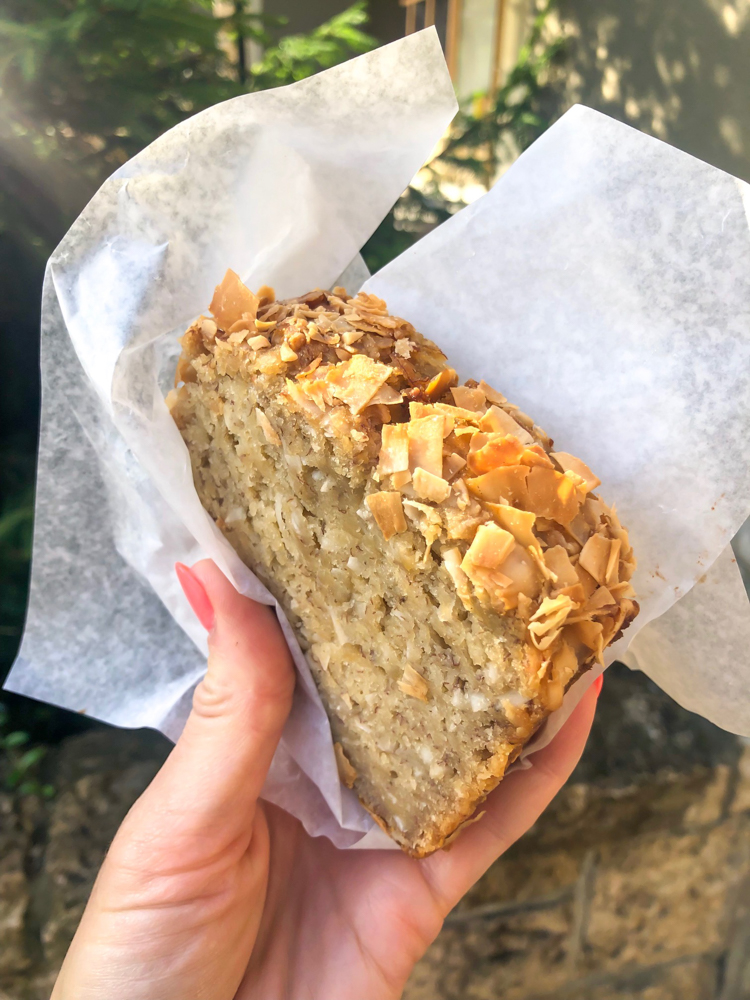 Vegan coconut banana bread by A Lady Goes West - July 2019