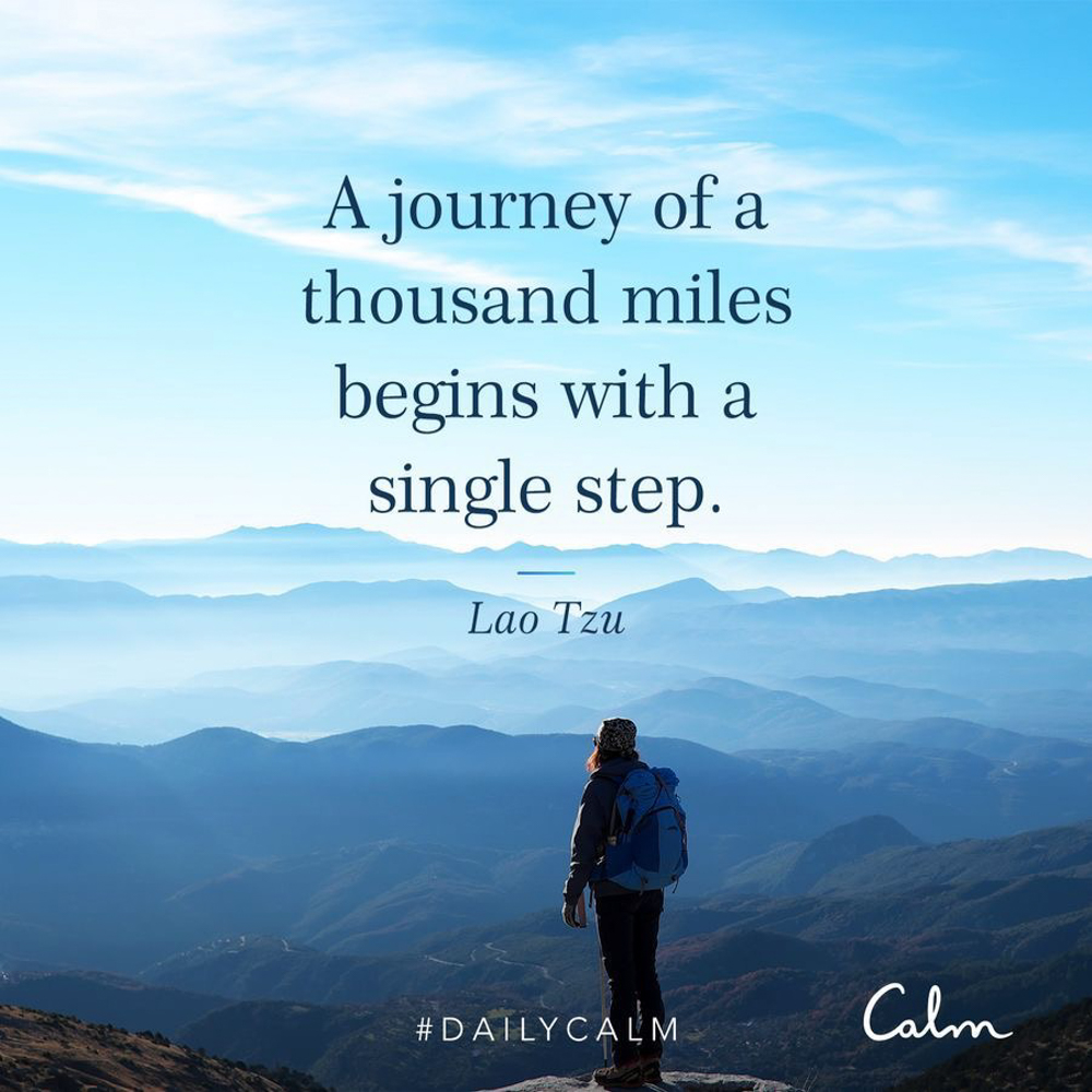 Baby steps quote from Calm -- A Lady Goes West - August 2019