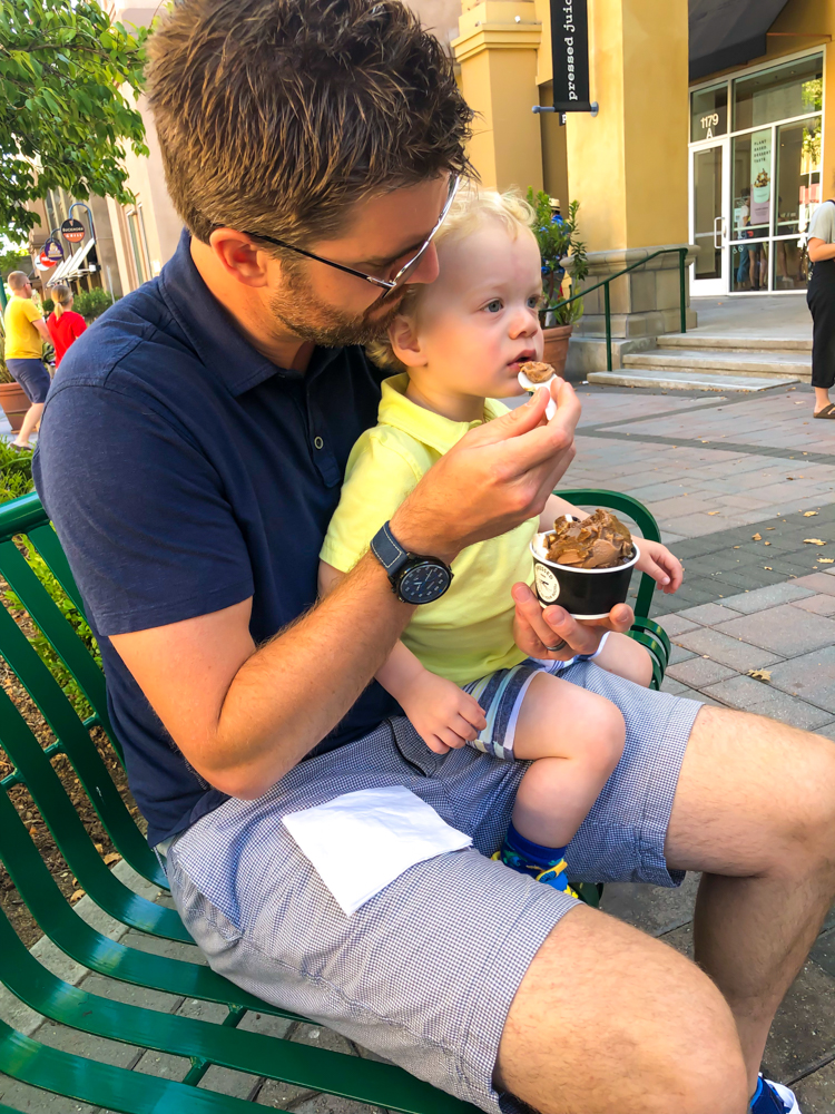 Brady enjoying Pressed Juicery treats by A Lady Goes West - August 2019