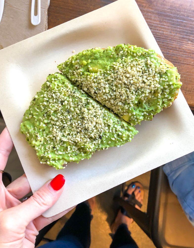 Avocado toast from Rooted - by A Lady Goes West -- September 2019