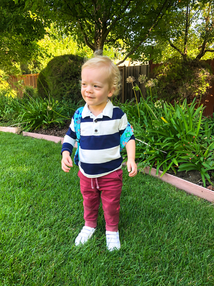 Brady after his first day of preschool September 2019 by A Lady Goes West