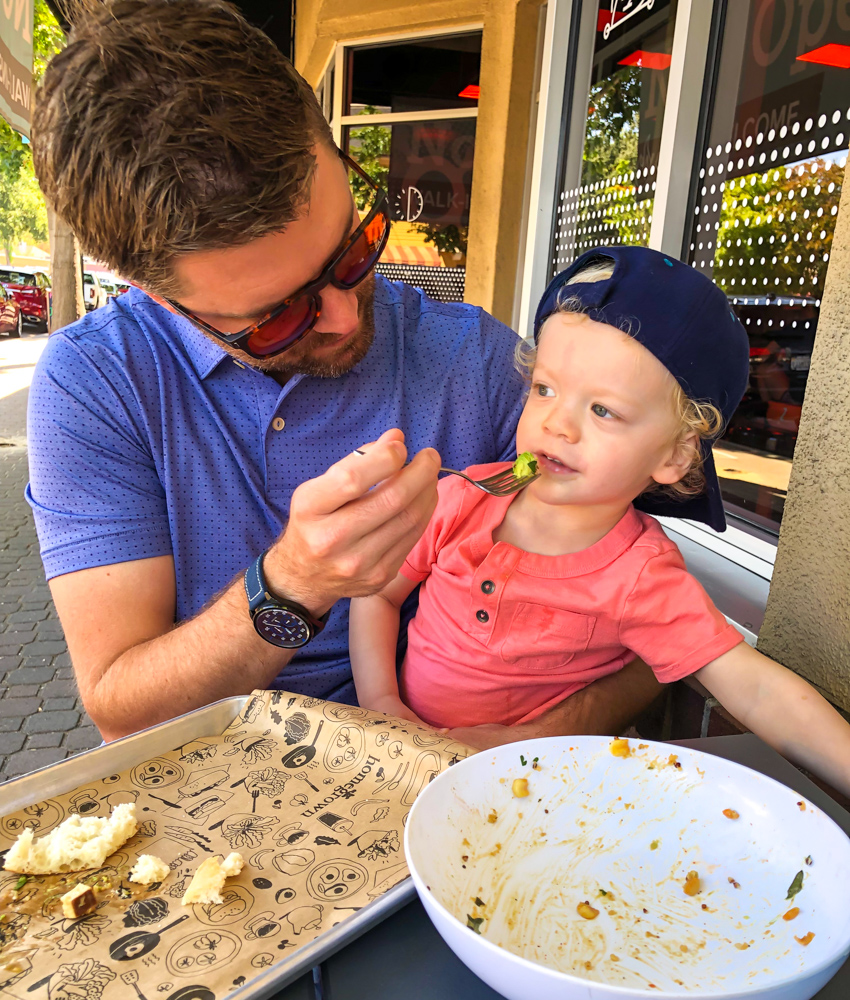 Brady eating at Homegrown by A Lady Goes West