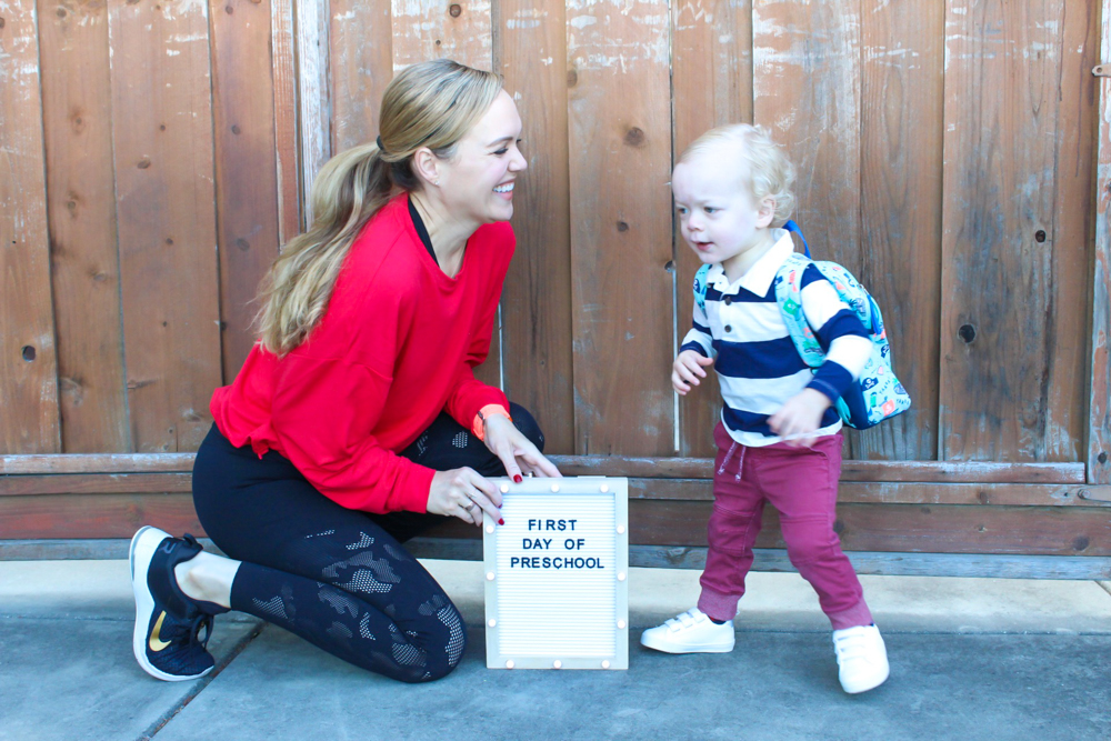 Brady's first day of preschool September 2019 by A Lady Goes West