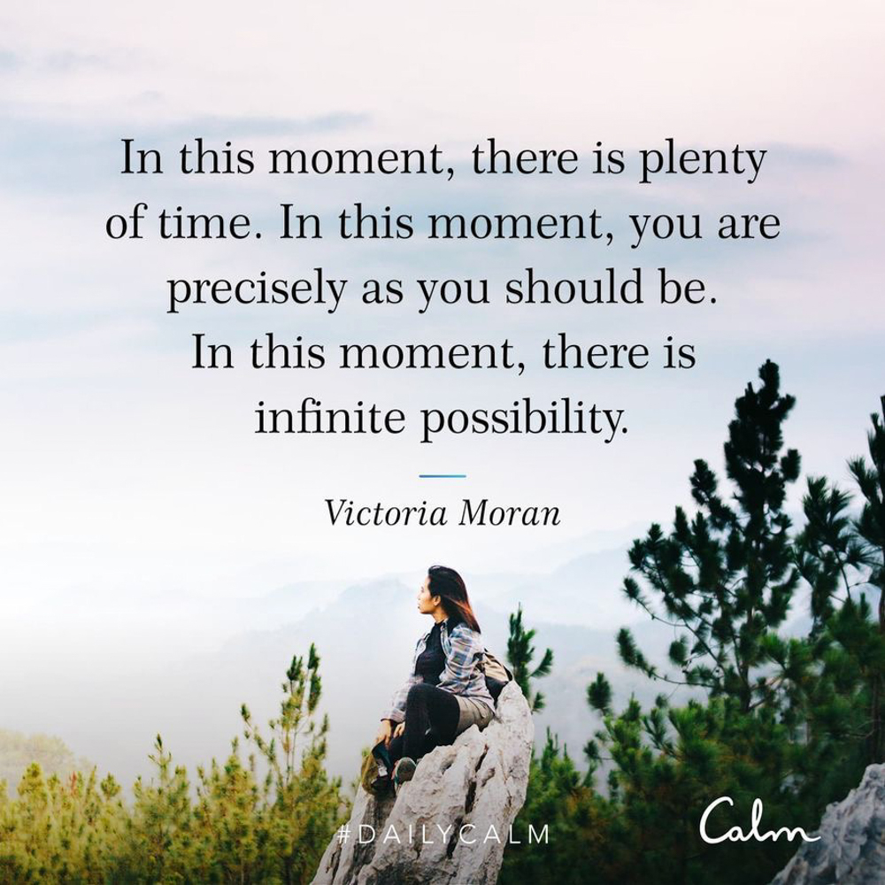 Calm app quote about moment - by A Lady Goes West -- September 2019